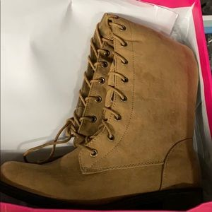 NEW Tan Lace-Up Knee-High Combat Boot